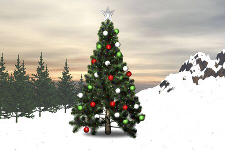 Christmas tree in the forest decorated