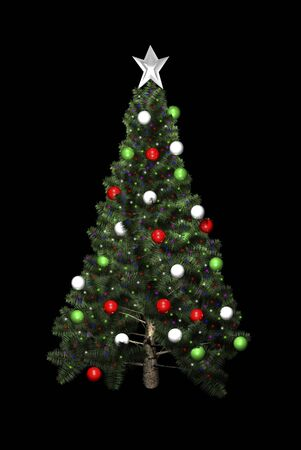 Christmas tree in 3D on black background