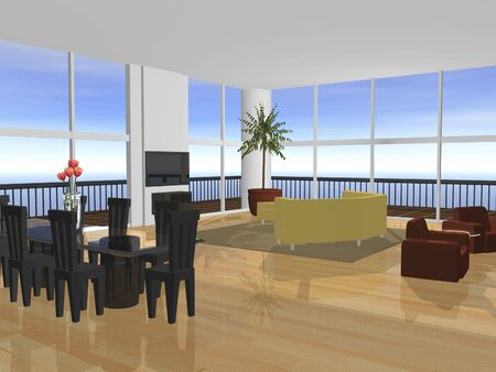 3D Apartment interior furnished with ocean view