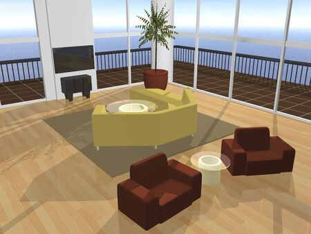 ocean view: 3D interior setting furnished with ocean view Stock Photo
