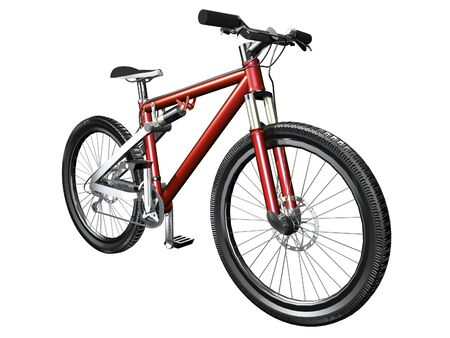 3D mountain bike on white front view isolated Фото со стока