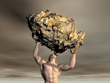3D man lifting rock with sky