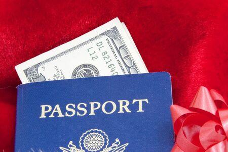 パスポートとお金で旅行の休日 写真素材