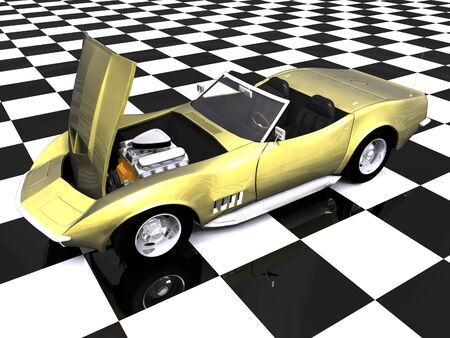 3d golden sports car with hood up on showroom checkered floor Stock Photo - 2181657