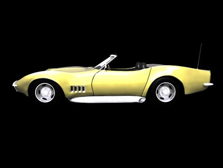 3d golden sports car side view on black Stock Photo - 2181648