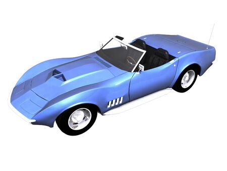 3D Blue sports car front side view on black