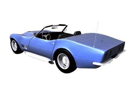 3D-blauwe sport wagen op een witte achtergrond