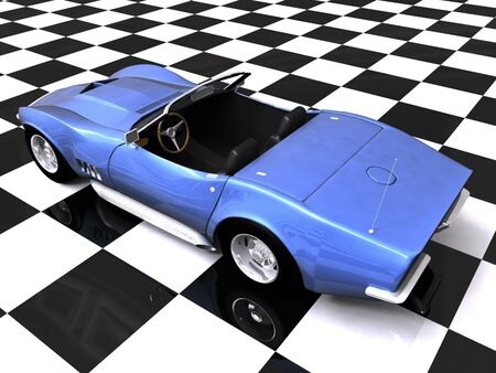 3D Blue sports car on checkered showroom background Stock Photo - 2181654