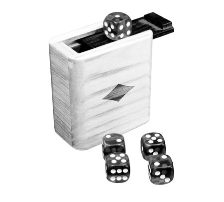 Black and white dice isolated with box
