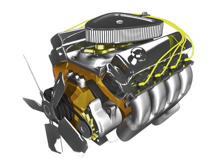 manifold: 3d engine on white background front side view