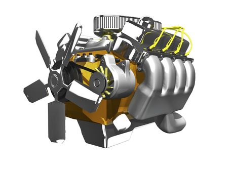 3d engine side view on white background Stock Photo
