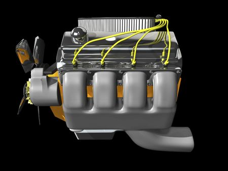 3d engine on black background side view Stock Photo