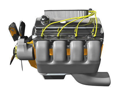3d engine on white background side view Stock Photo