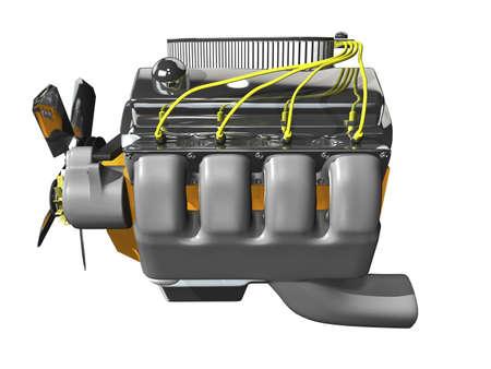 3D engine vista laterale su sfondo bianco Archivio Fotografico - 2217192