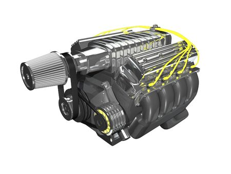 3d super charge engine on white background