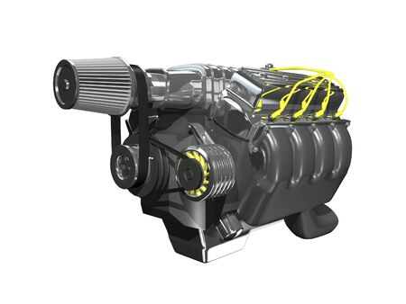 3d turbo engine on white background
