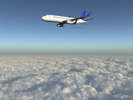 passanger: 3d airplane with exhaust flying over clouds