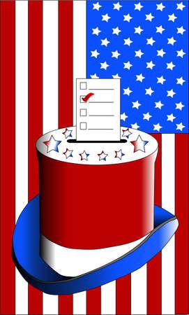 voting ballot: Voting ballot top hat Stock Photo