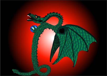 Dragon serpent illustration Stok Fotoğraf