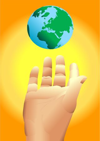 hand reaching for earth with sun in background