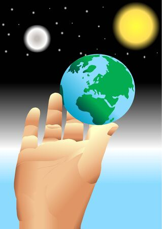 extremity: hand holding earth in universe Stock Photo