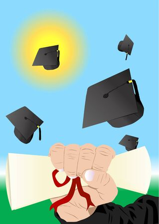 graduation illustration with diploma and caps