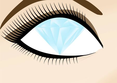 wealthy womans eye with diamond