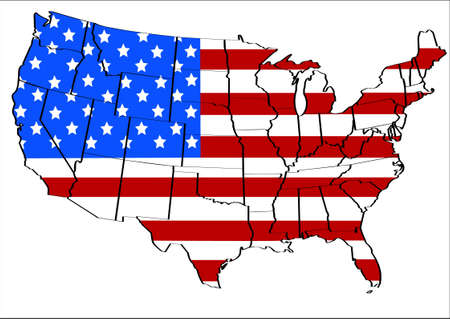 US Flag America illustration with states