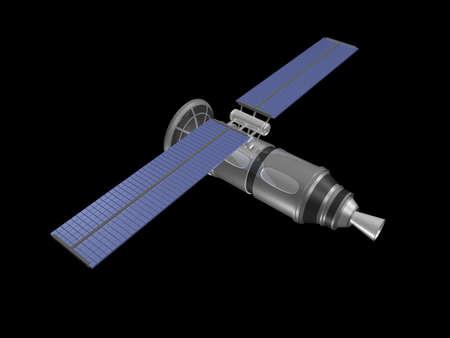 top Achteraanzicht van satelliet op zwart