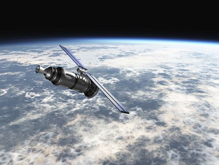 satellite in earth atmosphere 3d render Foto de archivo