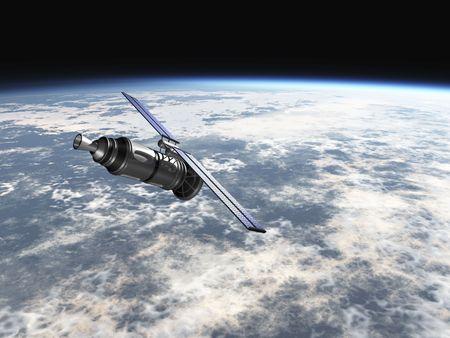 le satellite en atmosphère 3d de la terre rendent