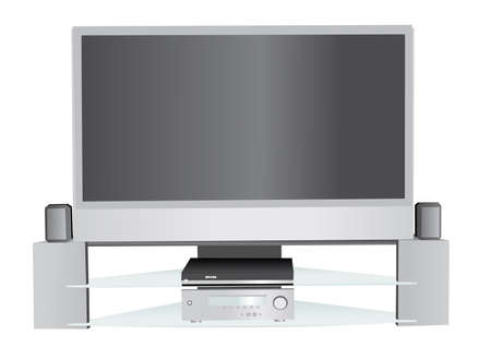 lcd tv: Illustration of home theater system Stock Photo