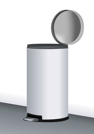 stainless steel: stainless steel trash can illustration