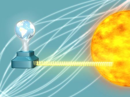 Sun powering earth illustration 3d render Stock Illustration - 2661734
