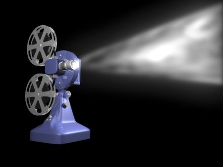film projector: Blue film projector playing on black background 3D Render