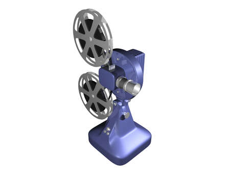 Blue film projector on white background photo
