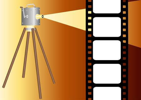 movie film: film strip with projector illustration