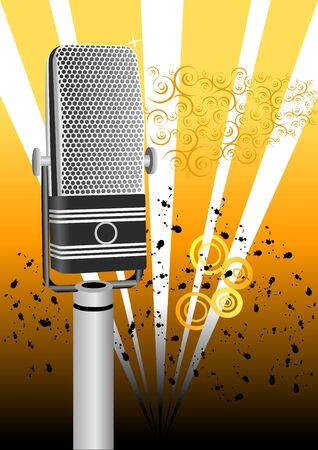Grunge Microphone Illustration Stock Photo