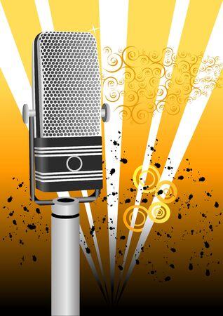 Grunge Microphone Illustration Фото со стока - 2731186