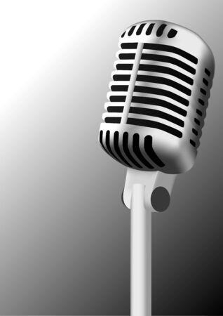 Antique steel microphone illustration