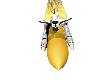 booster: Space shuttle 3d render with booster on white background