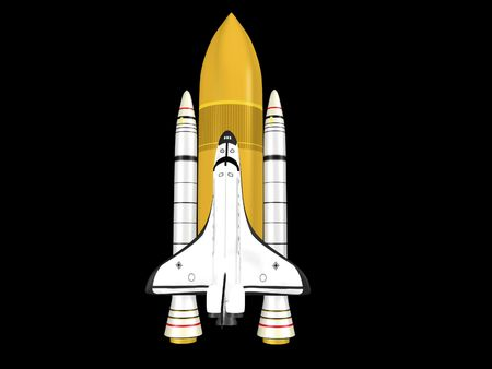 Space shuttle on black background with booster