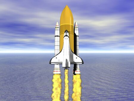 booster: Shuttle leaving earth 3d render with ocean and horizon