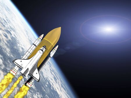 booster: Shuttle leaving earth 3d render with galaxy flare