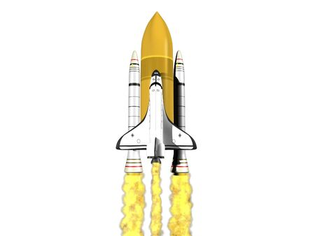 Space shuttle launching on white background with fire