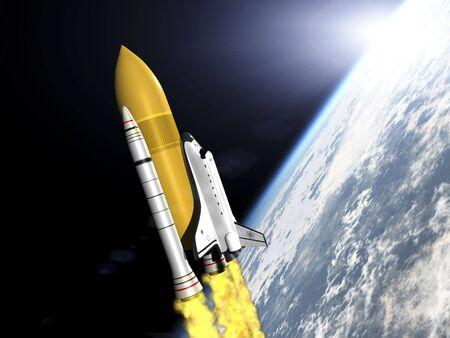 shuttle: Shuttle verlaten aarde 3D render zijaanzicht Stockfoto