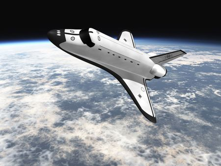 space shuttle: Space Shuttle leaving earth 3d render going left