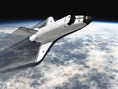 space: Space Shuttle leaving earth 3d render going right with jet stream Stock Photo