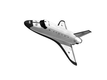 Space shuttle flying left on white background Stock Photo