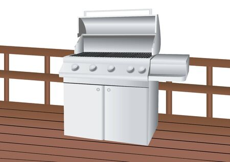 gas barbecue: stainless steel barbecue illustration on wood deck